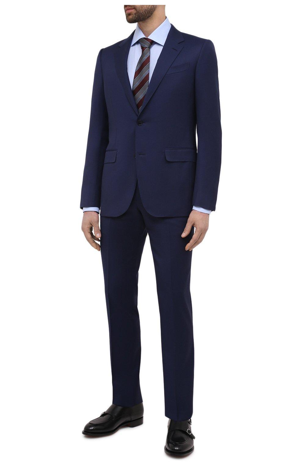 Мужская хлопковая сорочка ERMENEGILDO ZEGNA голубого цвета, арт. 901030/9RS0GS   Фото 2