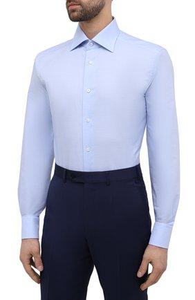 Мужская хлопковая сорочка ERMENEGILDO ZEGNA голубого цвета, арт. 901030/9RS0GS   Фото 3