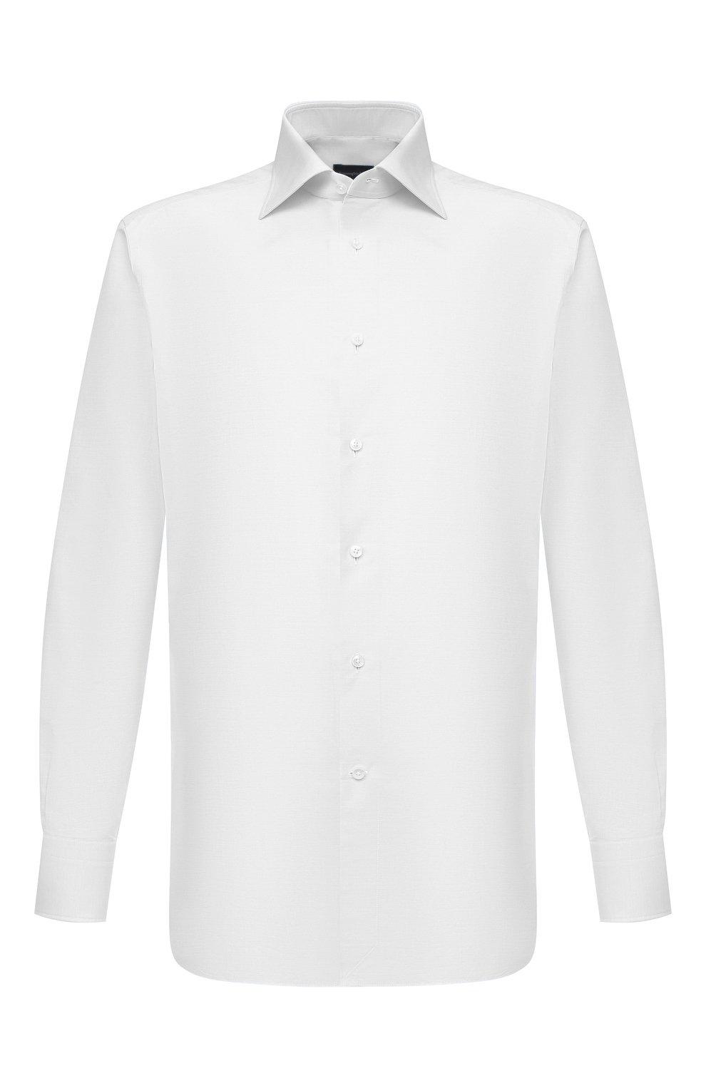 Мужская хлопковая сорочка ERMENEGILDO ZEGNA белого цвета, арт. 901031/9RS0GS   Фото 1