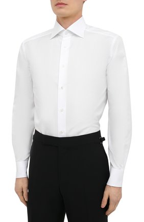 Мужская хлопковая сорочка ERMENEGILDO ZEGNA белого цвета, арт. 901031/9RS0GS   Фото 3