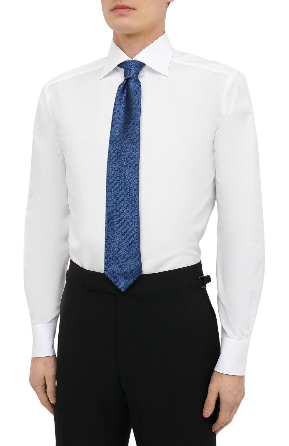 Мужская хлопковая сорочка ERMENEGILDO ZEGNA белого цвета, арт. 901031/9RS0GS   Фото 4