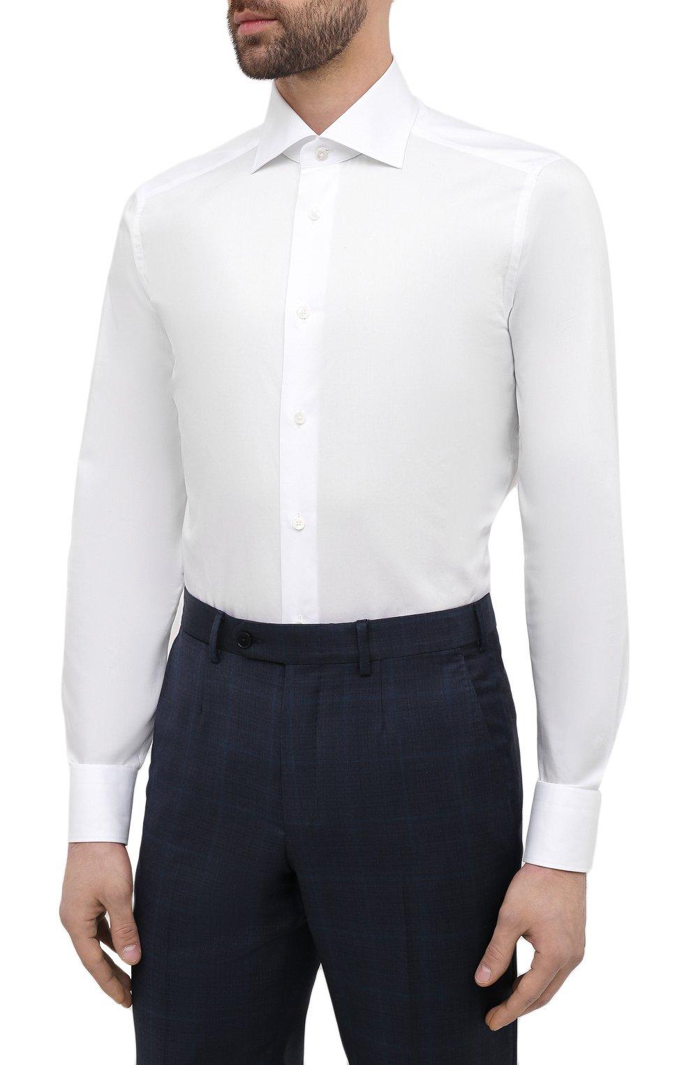 Мужская хлопковая сорочка ERMENEGILDO ZEGNA белого цвета, арт. 901222/9MS0BA | Фото 3