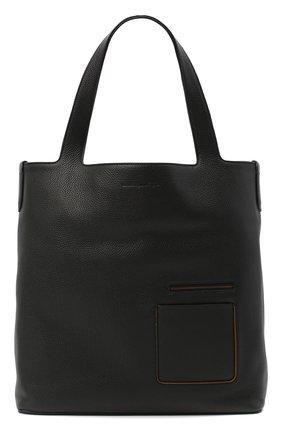 Мужская кожаная сумка-шопер ERMENEGILDO ZEGNA черного цвета, арт. C1570W-LHDAI | Фото 1