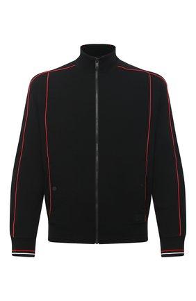 Мужской шерстяной кардиган Z ZEGNA черного цвета, арт. VW475/ZZT808   Фото 1 (Стили: Спорт-шик; Материал внешний: Шерсть; Длина (для топов): Стандартные; Рукава: Длинные; Мужское Кросс-КТ: Кардиган-одежда)