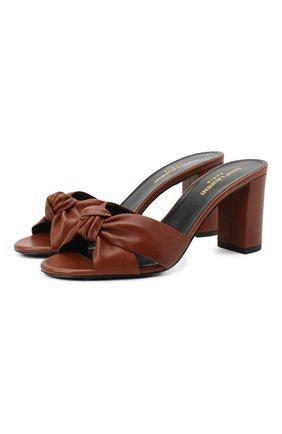 Женские кожаные мюли bianca SAINT LAURENT коричневого цвета, арт. 652741/00J00 | Фото 1