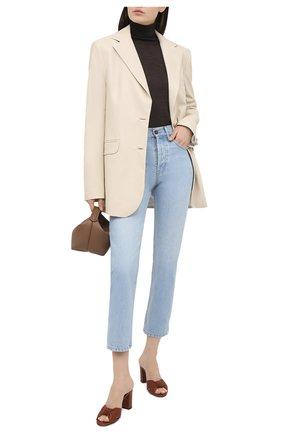 Женские кожаные мюли bianca SAINT LAURENT коричневого цвета, арт. 652741/00J00 | Фото 2