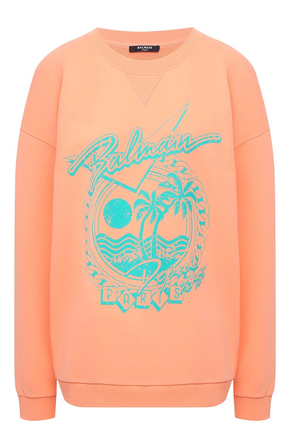 Женский хлопковый свитшот BALMAIN оранжевого цвета, арт. VF13742/B506 | Фото 1