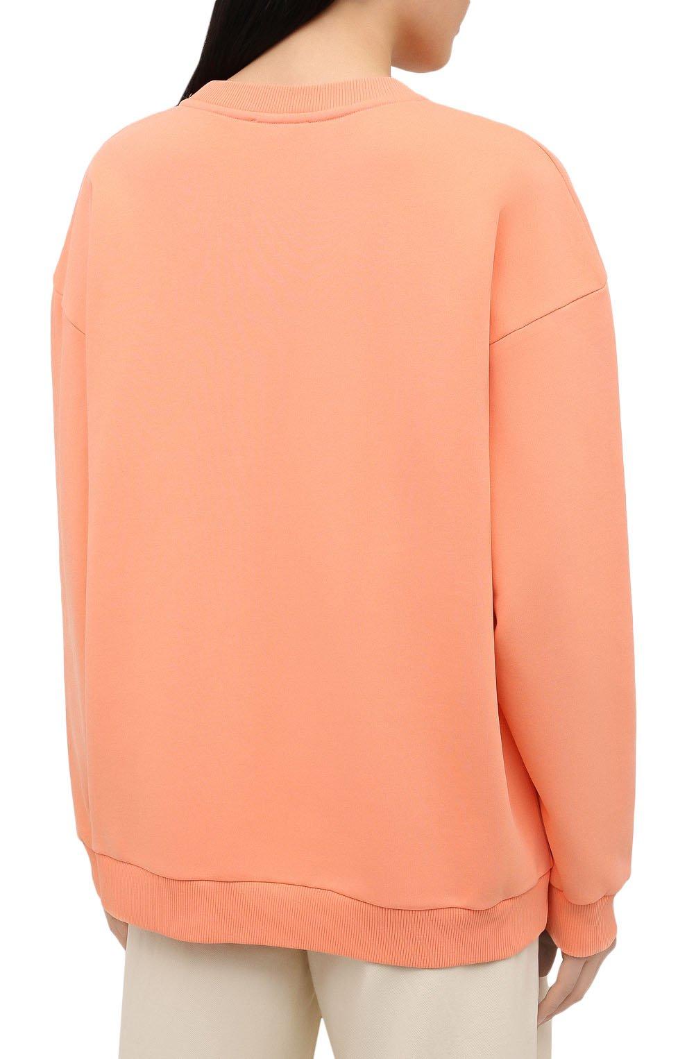 Женский хлопковый свитшот BALMAIN оранжевого цвета, арт. VF13742/B506 | Фото 4