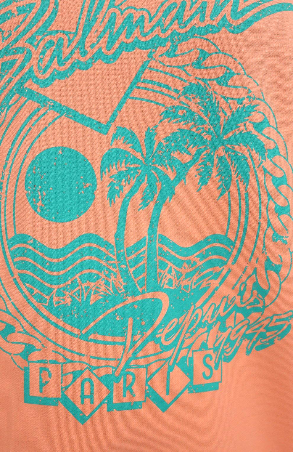 Женский хлопковый свитшот BALMAIN оранжевого цвета, арт. VF13742/B506 | Фото 5
