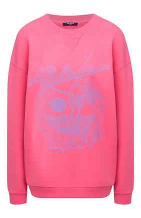 Женский хлопковый свитшот BALMAIN розового цвета, арт. VF13742/B506 | Фото 1