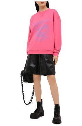 Женский хлопковый свитшот BALMAIN розового цвета, арт. VF13742/B506 | Фото 2