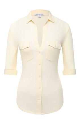 Женская хлопковая рубашка JAMES PERSE желтого цвета, арт. WUA3042 | Фото 1
