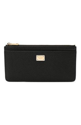 Женский кожаный футляр для кредитных карт DOLCE & GABBANA черного цвета, арт. BI1265/AW737 | Фото 1