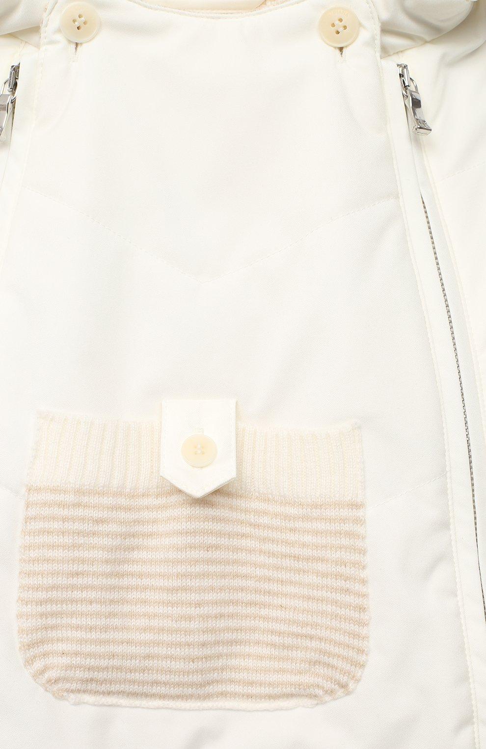 Детский конверт с капюшоном LORO PIANA белого цвета, арт. FAI7360   Фото 3