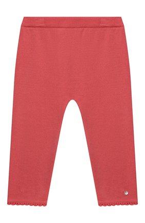 Детские хлопковые брюки TARTINE ET CHOCOLAT кораллового цвета, арт. TS24001/1M-1A | Фото 1 (Материал внешний: Хлопок; Ростовка одежда: 12 мес | 80 см, 3 мес | 62 см, 6 мес | 68 см, 9 мес | 74 см)