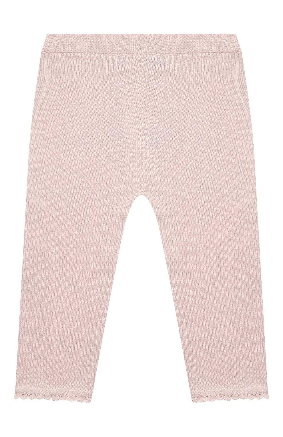 Детские хлопковые брюки TARTINE ET CHOCOLAT светло-розового цвета, арт. TS24001/18M-3A   Фото 2 (Материал внешний: Хлопок; Ростовка одежда: 18 мес   86 см, 24 мес   92 см, 36 мес   98 см)