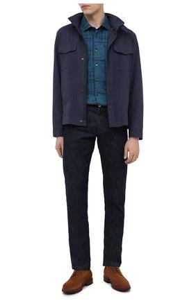 Мужская хлопковая рубашка ZILLI SPORT бирюзового цвета, арт. MFU-56061-@/0005/06/07 | Фото 2