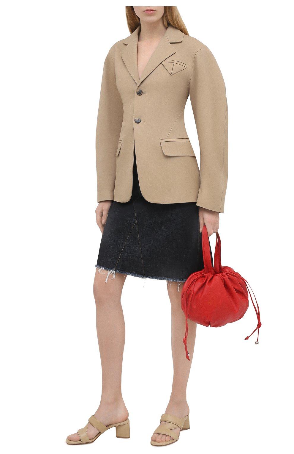 Женский хлопковый жакет BOTTEGA VENETA бежевого цвета, арт. 646659/V0BR0   Фото 2
