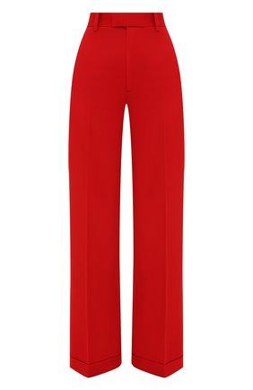 Женские шерстяные брюки BOTTEGA VENETA красного цвета, арт. 644546/V0B20   Фото 1 (Силуэт Ж (брюки и джинсы): Широкие; Длина (брюки, джинсы): Стандартные; Материал внешний: Шерсть; Стили: Кэжуэл; Женское Кросс-КТ: Брюки-одежда)