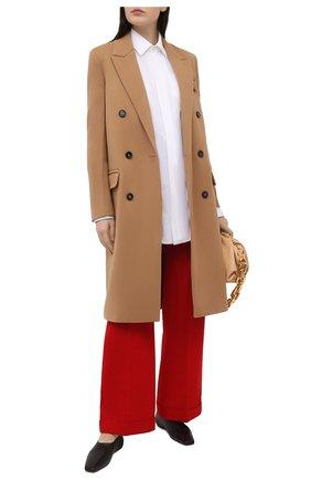 Женские шерстяные брюки BOTTEGA VENETA красного цвета, арт. 644546/V0B20   Фото 2 (Силуэт Ж (брюки и джинсы): Широкие; Длина (брюки, джинсы): Стандартные; Материал внешний: Шерсть; Стили: Кэжуэл; Женское Кросс-КТ: Брюки-одежда)
