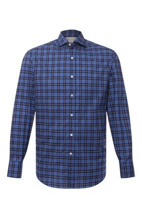 Мужская хлопковая рубашка BRUNELLO CUCINELLI темно-синего цвета, арт. MW6640028 | Фото 1 (Рукава: Длинные; Случай: Повседневный; Длина (для топов): Стандартные; Воротник: Кент; Стили: Кэжуэл; Материал внешний: Хлопок; Манжеты: На пуговицах; Принт: Клетка)