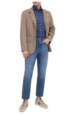 Мужская хлопковая рубашка BRUNELLO CUCINELLI темно-синего цвета, арт. MW6640028 | Фото 2 (Рукава: Длинные; Случай: Повседневный; Длина (для топов): Стандартные; Воротник: Кент; Стили: Кэжуэл; Материал внешний: Хлопок; Манжеты: На пуговицах; Принт: Клетка)