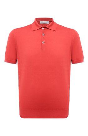 Мужское хлопковое поло  BRUNELLO CUCINELLI красного цвета, арт. M29800125 | Фото 1 (Материал внешний: Хлопок; Длина (для топов): Стандартные; Стили: Кэжуэл; Застежка: Пуговицы; Рукава: Короткие)