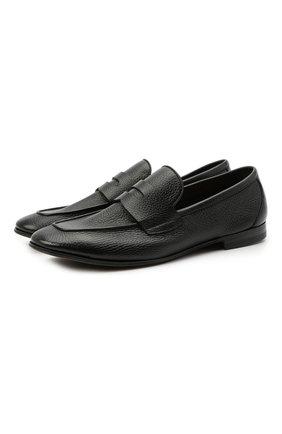 Мужские кожаные пенни-лоферы H`D`S`N BARACCO черного цвета, арт. 71400.5* | Фото 1 (Материал внутренний: Натуральная кожа; Стили: Кэжуэл; Мужское Кросс-КТ: Лоферы-обувь)