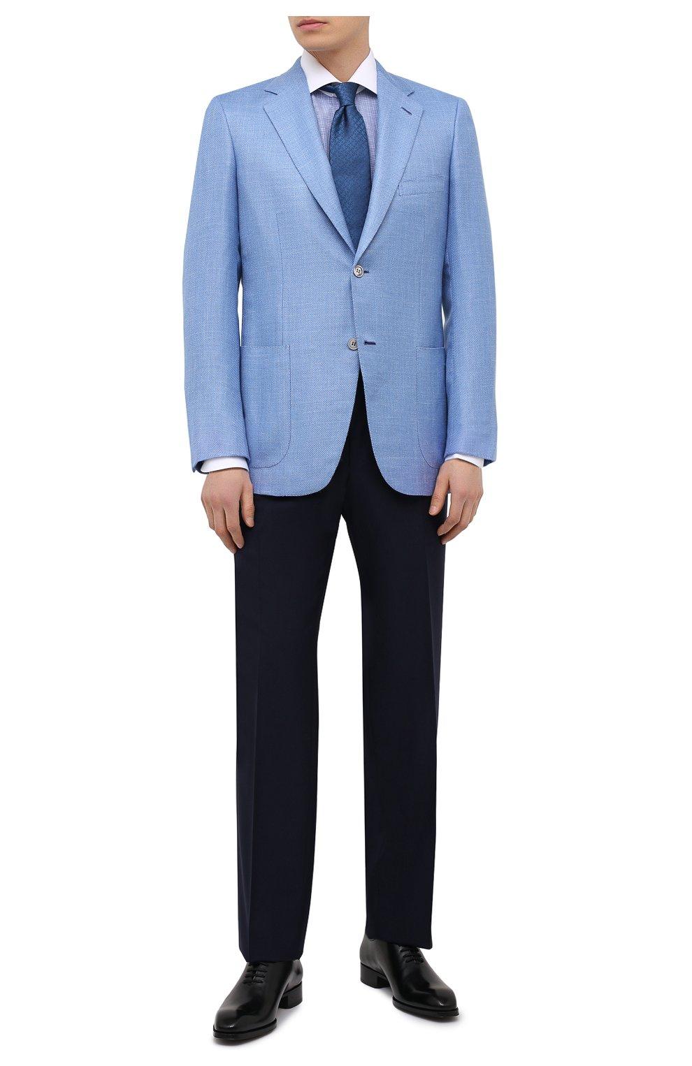 Мужской пиджак из кашемира и шелка BRIONI голубого цвета, арт. RGH00U/P0321/PARLAMENT0 | Фото 2