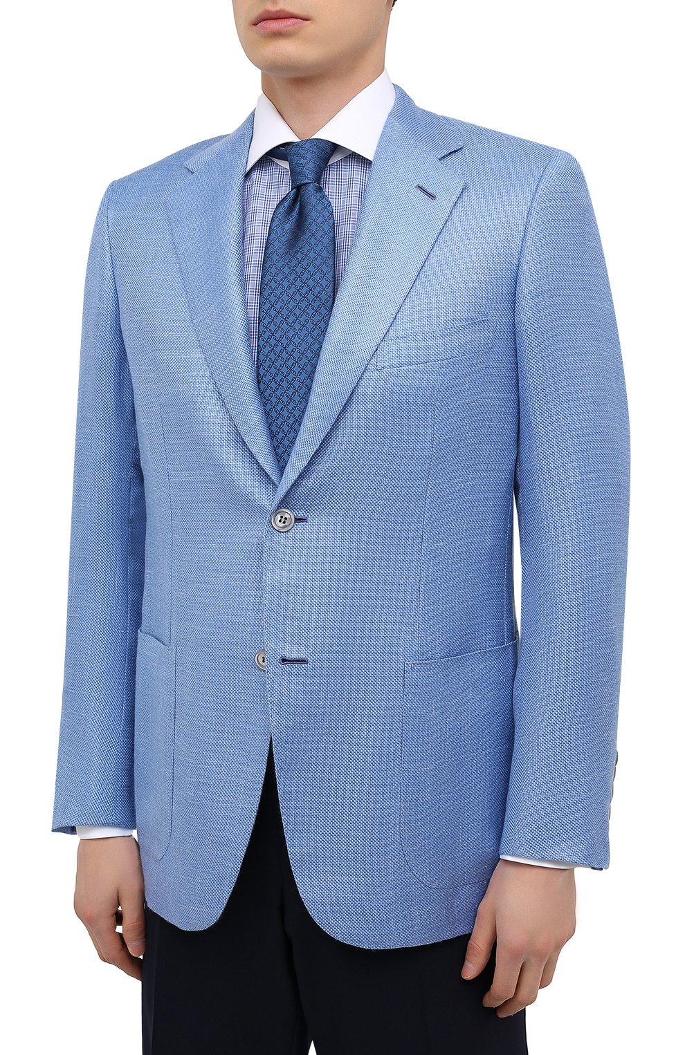 Мужской пиджак из кашемира и шелка BRIONI голубого цвета, арт. RGH00U/P0321/PARLAMENT0 | Фото 3