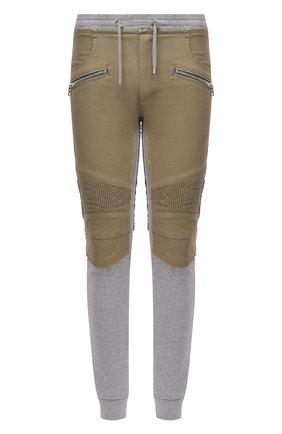 Мужские хлопковые джоггеры BALMAIN серого цвета, арт. VH1MD005/009D   Фото 1 (Материал внешний: Хлопок; Длина (брюки, джинсы): Стандартные; Стили: Спорт-шик; Силуэт М (брюки): Джоггеры)