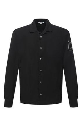 Мужская хлопковая рубашка JAMES PERSE черного цвета, арт. MLC3289UW | Фото 1 (Длина (для топов): Стандартные; Материал внешний: Хлопок; Рукава: Длинные; Стили: Кэжуэл; Случай: Повседневный)