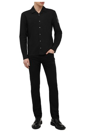 Мужская хлопковая рубашка JAMES PERSE черного цвета, арт. MLC3289UW | Фото 2 (Длина (для топов): Стандартные; Материал внешний: Хлопок; Рукава: Длинные; Стили: Кэжуэл; Случай: Повседневный)