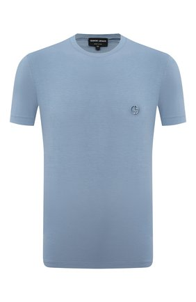 Мужская футболка из вискозы GIORGIO ARMANI голубого цвета, арт. 3GST52/SJP4Z   Фото 1
