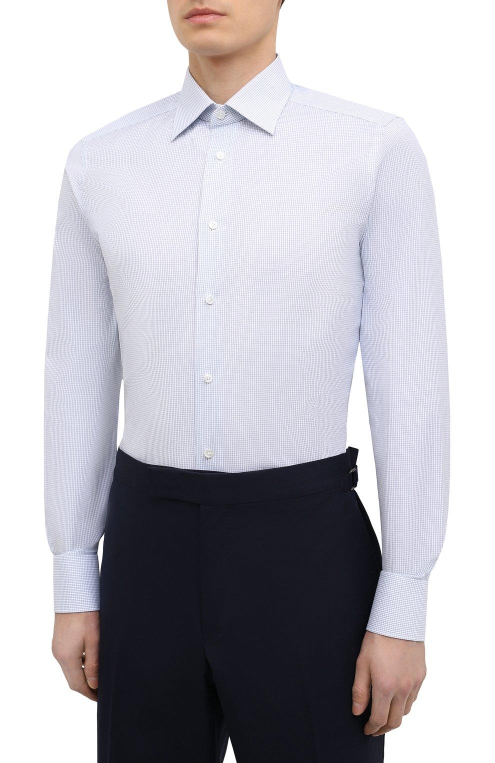 Мужская хлопковая сорочка ERMENEGILDO ZEGNA голубого цвета, арт. 901028/9MS0PA | Фото 3