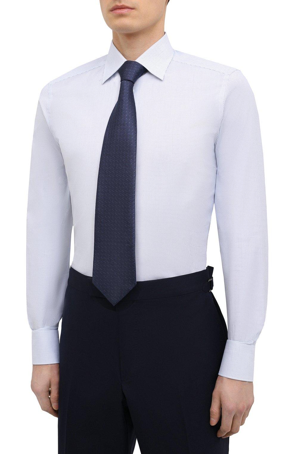 Мужская хлопковая сорочка ERMENEGILDO ZEGNA голубого цвета, арт. 901028/9MS0PA | Фото 4