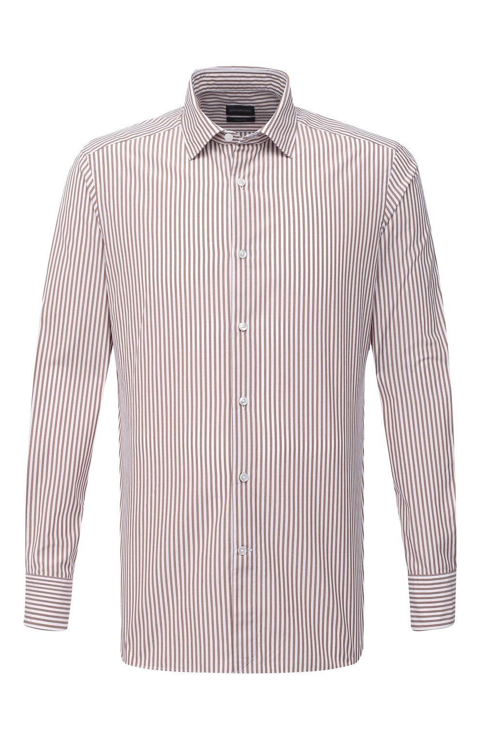 Мужская сорочка из хлопка и шелка ERMENEGILDO ZEGNA светло-коричневого цвета, арт. 901301/9MS0M2   Фото 1