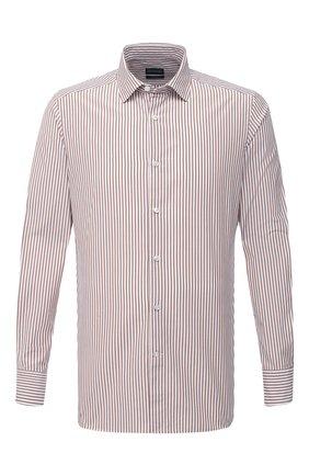 Мужская сорочка из хлопка и шелка ERMENEGILDO ZEGNA светло-коричневого цвета, арт. 901301/9MS0M2 | Фото 1