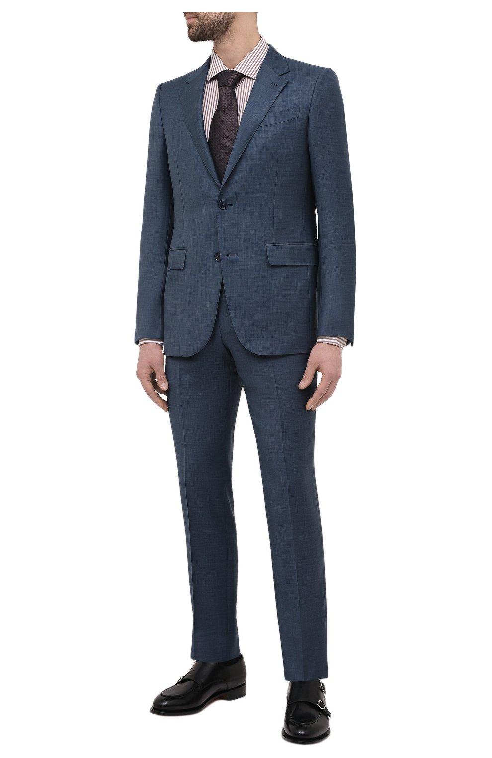 Мужская сорочка из хлопка и шелка ERMENEGILDO ZEGNA светло-коричневого цвета, арт. 901301/9MS0M2   Фото 2
