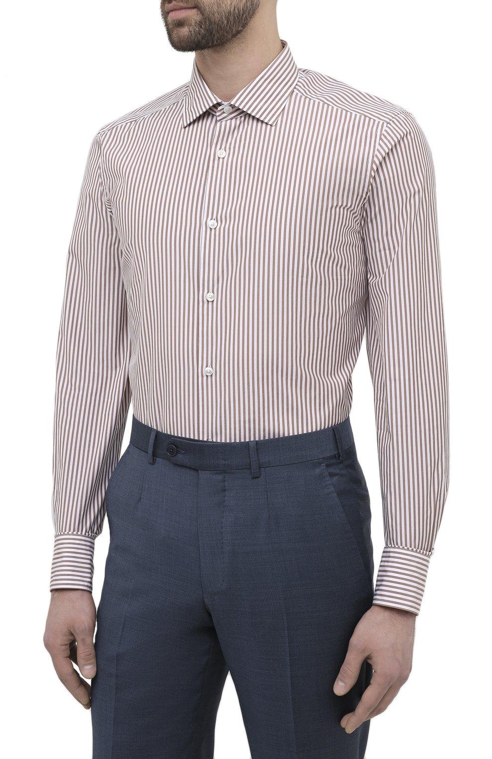 Мужская сорочка из хлопка и шелка ERMENEGILDO ZEGNA светло-коричневого цвета, арт. 901301/9MS0M2   Фото 3