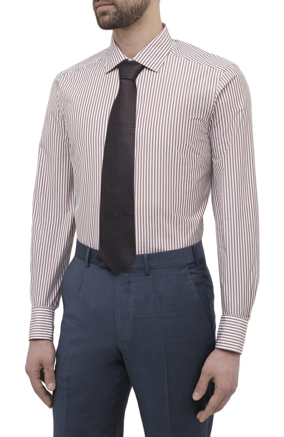 Мужская сорочка из хлопка и шелка ERMENEGILDO ZEGNA светло-коричневого цвета, арт. 901301/9MS0M2   Фото 4
