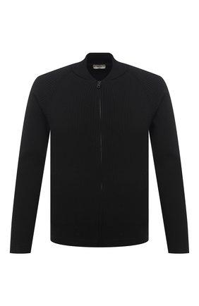 Мужской хлопковый кардиган Z ZEGNA черного цвета, арт. VWC71/ZZ458   Фото 1 (Мужское Кросс-КТ: Кардиган-одежда; Длина (для топов): Стандартные; Стили: Кэжуэл; Рукава: Длинные; Материал внешний: Хлопок)