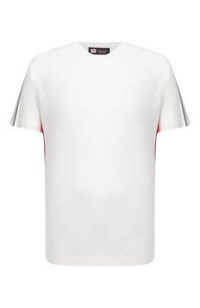 Мужская шерстяная футболка Z ZEGNA белого цвета, арт. VW391/ZZT608 | Фото 1 (Принт: Без принта; Длина (для топов): Стандартные; Рукава: Короткие; Стили: Кэжуэл; Материал внешний: Шерсть)