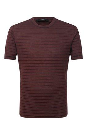Мужская футболка из хлопка и шелка ERMENEGILDO ZEGNA коричневого цвета, арт. UW388/706 | Фото 1