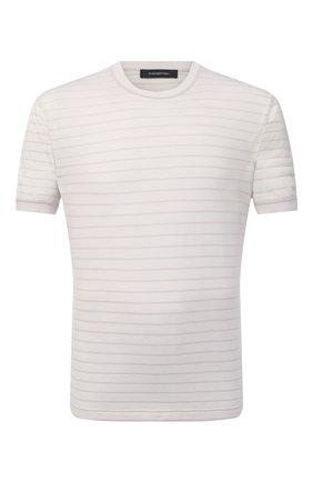 Мужская футболка из хлопка и шелка ERMENEGILDO ZEGNA светло-бежевого цвета, арт. UW388/706 | Фото 1