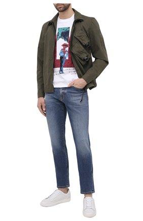 Мужские джинсы Z ZEGNA синего цвета, арт. VW773S/ZZ510 | Фото 2 (Материал внешний: Хлопок; Силуэт М (брюки): Прямые; Длина (брюки, джинсы): Стандартные; Стили: Кэжуэл; Кросс-КТ: Деним; Детали: Потертости)