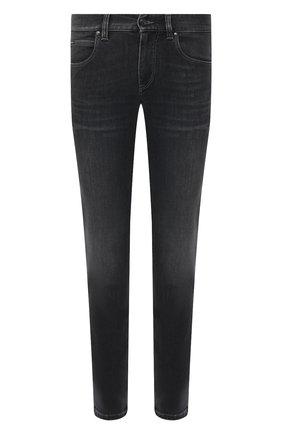 Мужские джинсы Z ZEGNA темно-серого цвета, арт. VW752/ZZ510   Фото 1 (Кросс-КТ: Деним; Стили: Кэжуэл; Материал внешний: Хлопок; Длина (брюки, джинсы): Стандартные; Детали: Потертости; Силуэт М (брюки): Прямые)