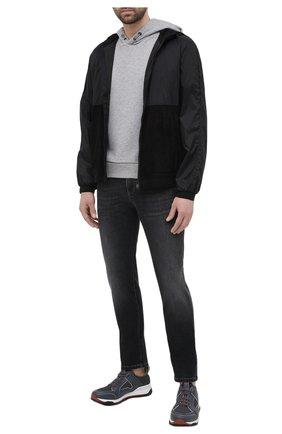 Мужские джинсы Z ZEGNA темно-серого цвета, арт. VW752/ZZ510   Фото 2 (Кросс-КТ: Деним; Стили: Кэжуэл; Материал внешний: Хлопок; Длина (брюки, джинсы): Стандартные; Детали: Потертости; Силуэт М (брюки): Прямые)
