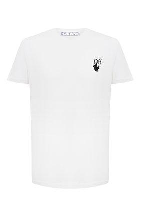 Мужская хлопковая футболка OFF-WHITE белого цвета, арт. 0MAA027R21JER003   Фото 1