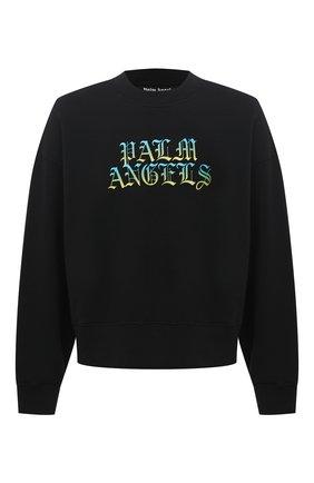 Мужской хлопковый свитшот PALM ANGELS черного цвета, арт. PMBA026R21FLE0041084 | Фото 1